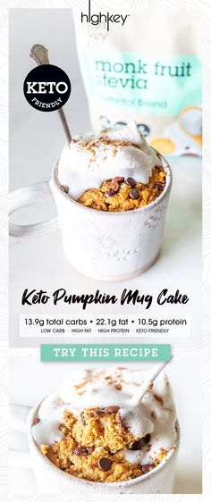 Low Carb, Keto Friendly Pumpkin Mug Cake Recipe 🎃🍰 – HighKey