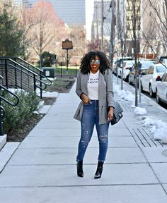 Checkered Blazer, Patent Leather boots, graphic tee, chanel, winter fashion, casual style