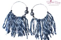 Denim Fringe Hoop Earrings - Denim
