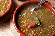 This traditional Cuban Lentil soup is thick and hearty. It can be served alone or with rice. - Potaje De Lentejas (Cuban Lentil Soup)