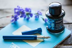 Freshen up your writing this spring with a Karas Kustoms Fountaik K Blue and De Atramentis Forget Me Not ink. Click here to find colorful, pastel, spring themed fountain pens with matching ink. :)