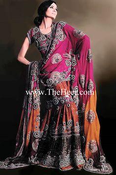 BW6447 Dark Coral & Seal Brown Crinkle Chiffon & Jamawar Gharara Shalwar Salwar Kameez Online, Buy Online Indian Pakistani Designer Outfits In Chiffon Jamawar Velvet Bridal Wear