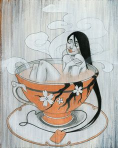 Woman Finding Comfort in Hot Tea Giclee Print Ayurveda, Tea Art, My Cup Of Tea, Cool Posters, Art Forms, Illustration Art, Illustrations, Giclee Print, Artsy