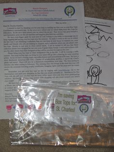 "The letter I sent each student home with at the end of last school yea encouraging them to save over summer!  It also included a collection sheet, a ziploc bag with a sticker on it that says ""I'm saving box tops for St. Charles"", a list of participating products and information on obtaining e-boxtops!"