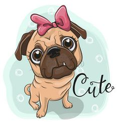 Greeting card puppy girl on a blue background. Greeting card Pug puppy girl on a blue background royalty free illustration Pug Puppies, Pug Dogs, Corgi Dog, Owl Cartoon, Aggressive Dog, New Puppy, Blue Backgrounds, Dog Art, Clipart
