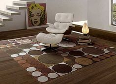 Modern Area Rug in Brown And Beige Colors Contemporary Area Rugs, Modern Area Rugs, Modern Contemporary, Carpet Decor, Rugs On Carpet, Stair Carpet, Buy Carpet, Cheap Carpet, Room Carpet
