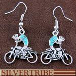 Turquoise Inlay Kokopelli Southwest Hook Earrings GS56351