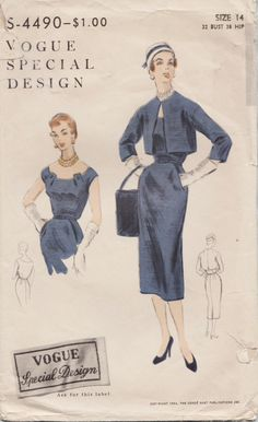 Vogue Special Design 4490 / Vintage 50s Sewing Pattern / Dress And Bolero Jacket…