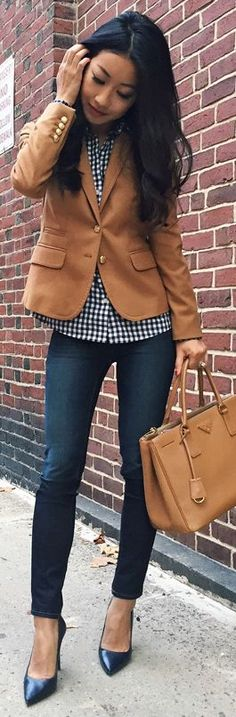 Camel Blazer On Gingham Fall Inspo by Extra Petite