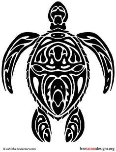 Tribal turtle tattoo design