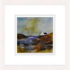 'Coastline Cottage' by Edel Taggart. This piece has been hand crafted, fused & framed by Spires Art in Omagh. Available in size X Glass Art, Range, Cottage, Artist, Crafts, House, Painting, Ideas, Design
