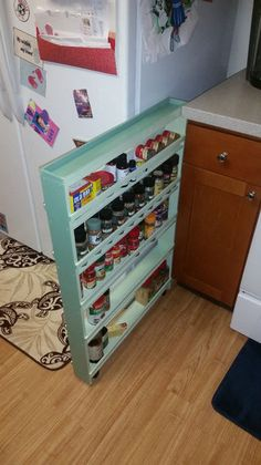how to build a hidden spice rack -- and use this idea to think of other ways to add hidden storage to your house for food or supplies