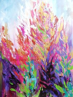 Ikat-Inspired Modern Floral Art Original Acrylic Abstract Painting
