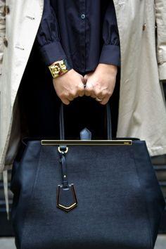 Fendi bag and statement bracelet