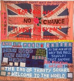 Tracey Emin, no chance, appliqued blanket, 1999 Tracey Emin's large appliquéd blankets overflow with words and phrases and are collaged from fabrics that have special meaning for her. Political Art, Political Events, Art Doodle, Tracey Emin, Banner, Applique, Social Art, Textiles, Feminist Art