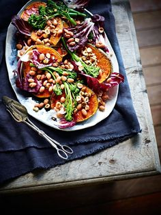 Honey-roasted pumpkin, borlotti bean, broccolini and hazelnut salad