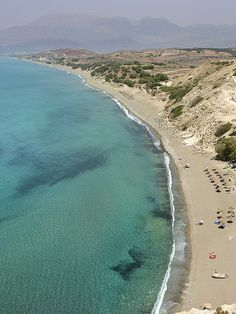 Kommos beach, located in the south of Crete. Near the village of Kalamaki and Pitsidia. Behind the Ida mountains.
