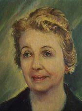 Vintage Oil painting Portrait  Lady Flower Brooch pin 1954 by Comark Hardboard