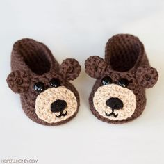 If you love teddies as much as I do, you're in luck! I've recently added a new baby bootie pattern, inspired by adorable little bear cubs!  Pattern: http://www.hopefulhoney.com/2015/09/teddy-bear-baby-booties-crochet-pattern.html #crochet #teddy #bear #booties #hopefulhoney