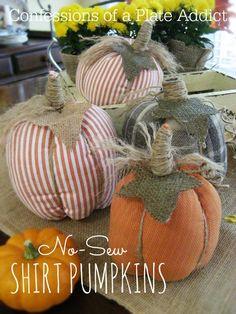 per Halloween 2019 in tessuto imbottito,pumpkins for Halloween Easy No Sew Shirt Pumpkins Sweater Pumpkins, Burlap Pumpkins, Fall Pumpkins, Fabric Pumpkins No Sew, Thanksgiving Crafts, Thanksgiving Decorations, Holiday Crafts, Easy Fall Crafts, Fall Diy