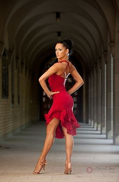 Natural Spin Signature Latin Dance Dresses:  LD24_Red