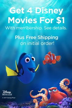 Disney Movie Club is overflowing with epic family fun. Dive in for oceans of family-pleasing adventures! Get 4 movies for $1 with membership. Plus free shipping on initial order. See details.