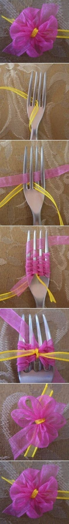 DIY Small Delicate Bow cute bow diy easy crafts diy ideas diy crafts do it yourself easy diy diy photos diy tutorials diy tutorial ideas Ribbon Art, Ribbon Crafts, Ribbon Bows, Diy Crafts, Ribbon Flower, Organza Ribbon, Handmade Flowers, Diy Flowers, Fabric Flowers