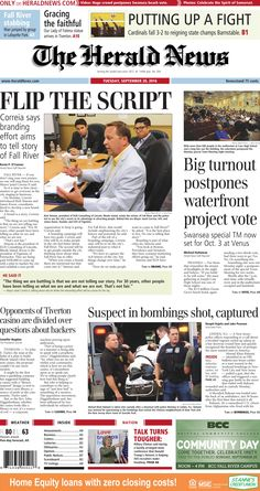 The front page of The Herald News for Tuesday, Sept. 20, 2016.