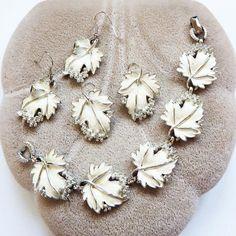 Vintage Sarah Coventry Silver Tone White Enamel Leaf Bracelet & 2 Sets of Earrin #SarahCoventry #VintageNecklace