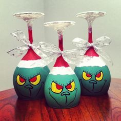 Grinch wine glass candle holders! Just for Shelby to drink out of during the holiday!!!