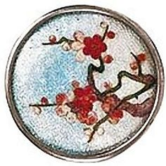 Button Very Fine Large Late 19th C Japanese Cloisonne in Silver