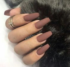 Brown acrylic coffin Matte nails, I currently have this color but not in matte. Love it!