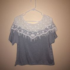 Crop Top/ Short Shirt Grey and white top! Can be worn as a short shirt or as a crop top :) never worn before!! Tops