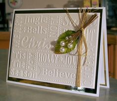 Embossed Christmas Card with Cluster of Pearl by WhimsyArtCards