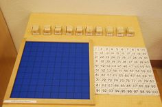 100 Board - Aids the child in the development of number concepts and logical thought, recognition of numbers 1-100, and provides exercise in counting to 100 with the symbols. Prior Learning: Teen Board, Ten Board, and the 100 Chain, all of which can be presented simultaneously with 100 Board.