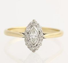 Marquise Diamond Engagement Ring 18K Yellow Gold Platinum Polished Edwardian Ring