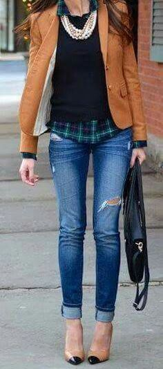 Love the plaid shirt, sweater, necklace combo and colors