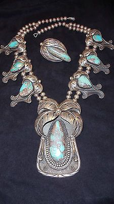 Estate Vintage Bisbee Turquoise Squash Blossom Necklace with Matching Ring  -*-*-o1000bin17000