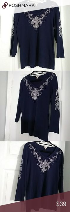 """Reba Bling Embellished Top 3/4 Sleeve Pristine Condition. V-Neck. All Crystals intact. No Flaws. Midnight Blue. Flattering Fit. 94% Cotton/ 6% Spandex. Made In U.S.A. Approximate Measurements: Chest - 41"""" Total Length - 24"""" Reba Tops"""