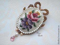 Брошь-кулон с бантиком - бежевый,брошь,кулон,бантик,цветы ручной работы
