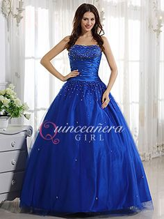 Royal Blue Beaded Strapless Sweetheart Tulle Long Quinceanera Dress - US   185.99 - Style Q0042 5f155c28e46b