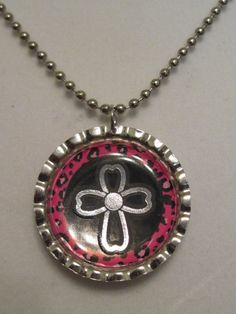 Cross bottle cap pendant #1 $5