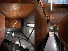 acier-corten-utilisation-intérieure-revêtement-cage-escalier-couloir