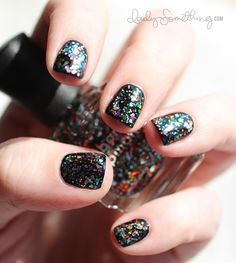 Deborah Lippman Happy Birthday (on a black base?) Must try: I have this polish, and have never worn it.