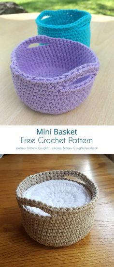 Mini Basket Free Crochet Patterns (Your Crochet) Crochet Home, Crochet Gifts, Easy Crochet, Free Crochet, Knit Crochet, Crochet Basket Pattern, Crochet Flower Patterns, Crochet Patterns Amigurumi, Crochet Stitches