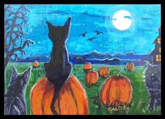 Pumpkin Painting - Pumpkin Patch Cats by Paintings by Gretzky