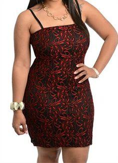 Red Lace Plus Size Dress : www.Figuresque.com #valentinesday #plussize #fashion