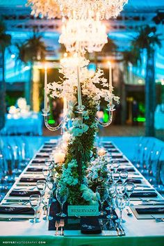 A candelabra covered in ivy gives off such a romantic look!