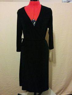 BUY IT NOW! Little Black Wrap Dress Slinky Brand Size Small Travelers Fabric Stretch Knit 3 #SlinkyBrand #WrapDress