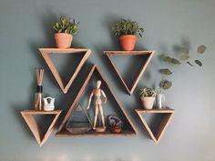 Set of 5 Reclaimed Wood Triangle Shelves by FernwehReclaimedWood